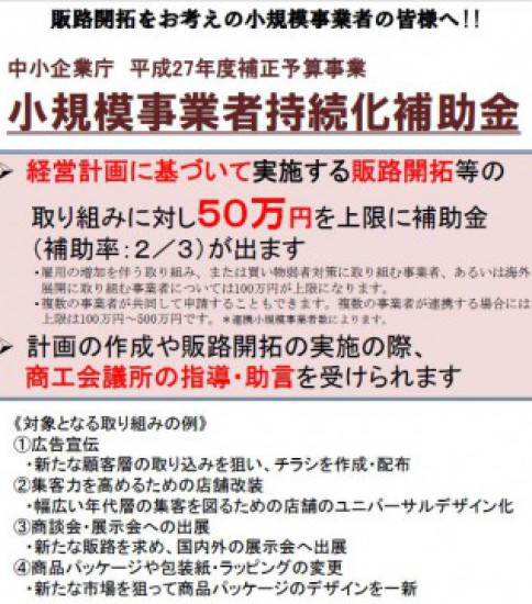 50万円~100万円 小規模事業者持続化補助金 ホームページ制作、リニューアルにも使えます!